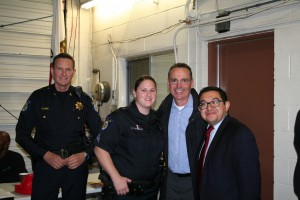 Captain Davis, Officer Cunningham, Chief Somers & Councilmember Guerra