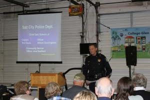 Captain Davis gives his last Community Crime update before his retirement.